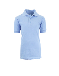 Case of [36] Adult School Light Blue Uniform Short Sleeve Polo Shirts - Size M-XXL