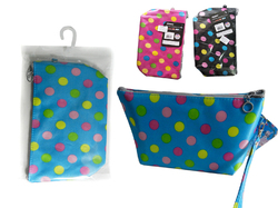 Case of [24] Polka Dot Print Cosmetic Bag - Assorted Colors
