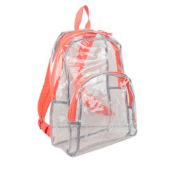 """Case of [12] 17"""" Eastsport Basic Clear Backpack - Orange"""