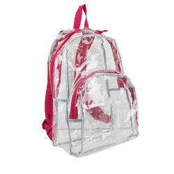 "Case of [12] 17"" Eastsport Basic Clear Backpack - Red"