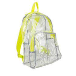 "Case of [12] 17"" Eastsport Basic Clear Backpack- Yellow"