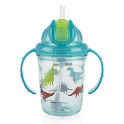Case of [24] Nuby 2-Handle Printed No-Spill Thin Flip-it w/360 Weighted Straw Cup- Dinosaurs