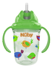 Case of [24] Nuby 2-Handle Printed No-Spill Thin Flip-it w/360 Weighted Straw Cup - Green Birds