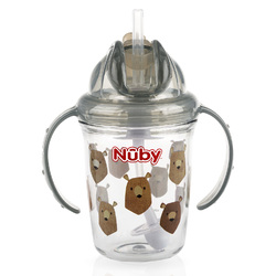 Case of [24] Nuby 2-Handle Printed No-Spill Thin Flip-it w/360 Weighted Straw Cup- Grey Bears