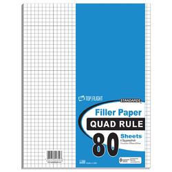 "Case of [12] 80 Count Quad Ruled Filler Paper - 11"" x 8.5"""
