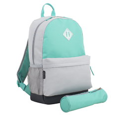 "Case of [24] 18"" Eastsport Premium Backpack with Pencil Case - Grey /Turquoise"