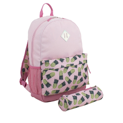 "Case of [24] 18"" Eastsport Premium Backpack with Pencil Case - Pink Pineapple"