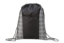 "Case of [100] 17"" Classic Drawstring Backpack - Plaid Prints"