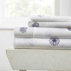 Case of [12] California King Indigo FlowerPattern 4 Piece Bed Sheet Set - Indigo
