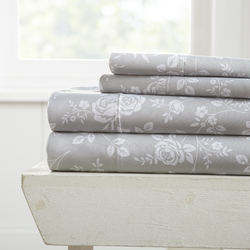 Case of [12] Full Rose Pattern 4 Piece Bed Sheet Set