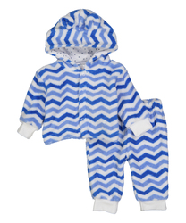 Case of [24] Baby Cuddle Fleece Pants & Hoodie Set - Chevron