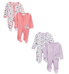 Case of [24] Preemie Girls 2-Pack Cotton Sleep N Play - Zebra