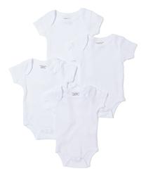 Case of [24] Baby 4 Pk Short Sleeve Bodysuits - White 0-12m