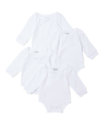 Case of [24] Baby 4 Pk Long Sleeve Bodysuits - White 0-12m