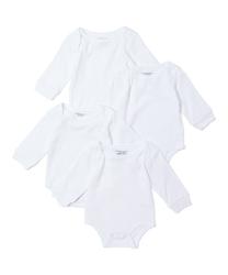 Case of [24] Baby 4 Pk Long Sleeve Bodysuits - White 0-12m