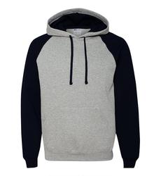 Case of [12] Jerzees NuBlend Color-block Raglan Hooded Sweatshirt - Oxford Black - Large