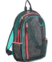 "Case of [12] 17"" Eastsport Classic Metro Mesh Backpack - Grey/Teal/Pink"