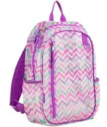"Case of [12] 17"" Eastsport Classic Metro Mesh Backpack - Purple Chevron"