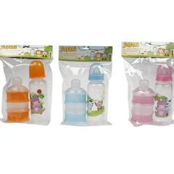 Case of [72] 8oz Baby Bottle & Formula Container Set - Assorted Colors