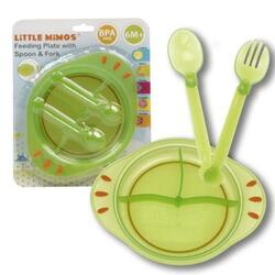 Case of [72] Green Feeding Plate with Spoon and Fork