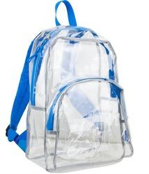 """Case of [12] 17"""" Eastsport Basic Clear Backpack - Blue"""