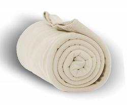 """Case of [24] Heavy Weight Fleece Blanket Throw - 50"""" x 60""""-Cream"""
