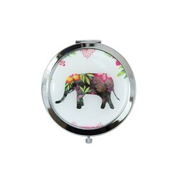 Case of [48] Professional Fashion Round Cosmetic Mirror - Assorted Elephant Prints