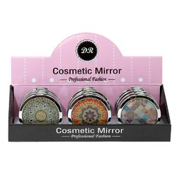 Case of [48] Professional Fashion Round Cosmetic Mirror - Assorted Kaleidoscope Prints