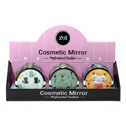 Case of [48] Professional Fashion Round Cosmetic Mirror - Assorted Cat Prints