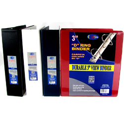 """Case of [12] E-Clips 3"""" 3-Ring Binder - Assorted Colors, 2 Interior Pockets, View Cover"""