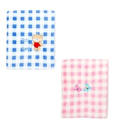 Case of [24] Baby Gingahm Blanket with Embroidery - Pink & Blue