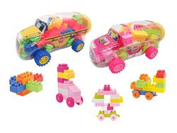 Case of [24] Building Block Vehicle Play Set - Bus