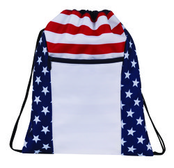 """Case of [100] 17"""" Classic Patriotic Drawstring Backpack"""