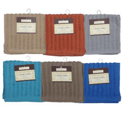 """Case of [72] Ribbed Washcloth 12"""" X 12"""" - 2 Pack"""