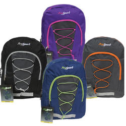 """Case of [24] 17"""" Prosport Classic Bungee Backpack - 4 Assorted Colors"""