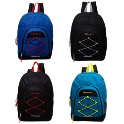 """Case of [24] 18"""" Classic Bungee Sport Backpack - 4 Assort Color"""