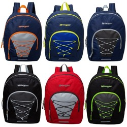 """Case of [24] 17"""" Classic Bungee Backpacks - 6 Assorted Colors"""