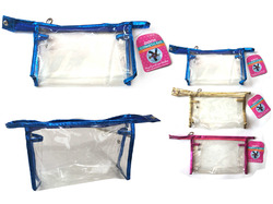Case of [12] Clear Vinyl Zippered Cosmetic Makeup Bag - Assorted Colors