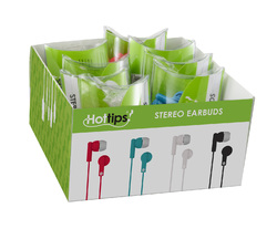 Case of [64] Hottips Tray Pack Stereo Ear Bud Assorted Pillow