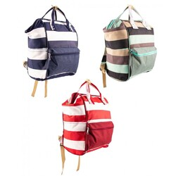 Category: Dropship Baby, SKU #2343641, Title: Case of [12] Backpack Diaper Bags - Blue/Green/Red Stripes, 14