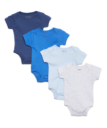 Category: Dropship Baby, SKU #2344548, Title: Case of [24] Baby Boys' Short Sleeve Bodysuit Set - Assorted Solids, 0M-12M, 4 Pack