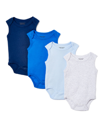 Category: Dropship Baby, SKU #2344552, Title: Case of [24] Baby Boys' Sleeveless Bodysuit Set - Solids, 12M-24M, 4 Pack