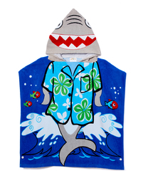 Category: Dropship Baby, SKU #2344567, Title: Case of [24] Toddler Boys' Hooded Pool Towel Poncho - Cool Shark, 2T-5T