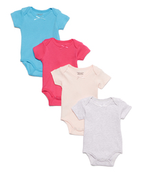 Category: Dropship Baby, SKU #2344617, Title: Case of [24] Baby Girls' Short Sleeve Bodysuit Set - Solids, 12M-24M, 4 Pack