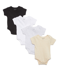Category: Dropship Baby, SKU #2344633, Title: Case of [24] Baby Short Sleeve Bodysuit Set - Neutral Solids, 12-24M, 4 Pack