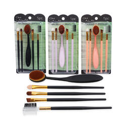 Case of [36] 5 Piece Cosmetic Brush Set - Assorted Colors