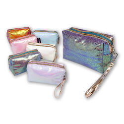 """Case of [48] 7"""" Holographic Cosmetic Bag - Assorted Colors"""