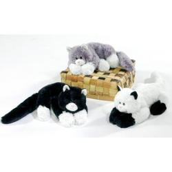 """Case of [24] 14"""" Laydown Cat Plush Toy - Assorted Colors"""