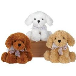 """Case of [24] 7"""" Sitting Bean Bag Dog Plush Toy - Assorted Colors"""