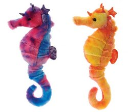 """Case of [24] 13"""" Tie Dye Seahorse Plush Toy - Assorted Colors"""